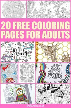 20 Free Coloring Pages for Adults ~ Why not join your kids in the coloring fun? Relax, unwind and enjoy these free coloring pages for adults! ~ from Crafts on Sea