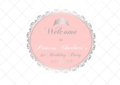 silver and pink princess 1st birthday, baptism, christening, baby shower backdrop, sign poster for dessert buffet, up to 84*60 inch, pdf by PRINTABLEPARTYPAPERS on Etsy