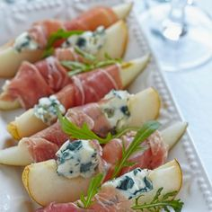 Prosciutto Wrapped Pears with Blue Cheese Crumble