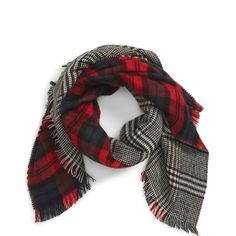 Reversible plaid/houndstooth blanket scarf. Firm Gorgeous blanket scarf for the winter month. Very trendy. Can be worn a variety of ways. Reversible. Plaid on one side and houndstooth on the other. Worn once. Like new. Please read picture 4 for product details. trades, PayPal or holds. Accessories Scarves & Wraps