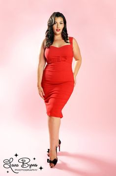 The Jessica Wiggle Dress in Vintage Red by Pinup Couture - In Plus Sizes
