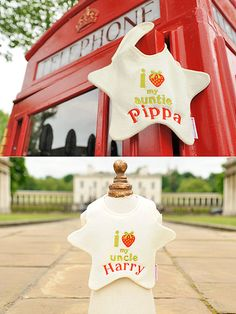 PIPPA BIBS Buy It Now: £13.50 at beautyandthebib.com  They may just be supporting players in the royal baby scenario but everyone will be thinking of Prince Harry and Pippa Middleton at feeding time with these whimsical bibs. Cheers to mashed peas!  #royalbaby