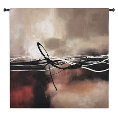 Fine Art Tapestries 'Symphony Red and Khaki II' colored Wall Tapestry