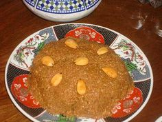 """""""Sellou"""" is a unique Moroccan sweet made from toasted sesames, fried almonds and flour that has been browned in the oven. It is traditionally served in Ramadan and for special occasions."""