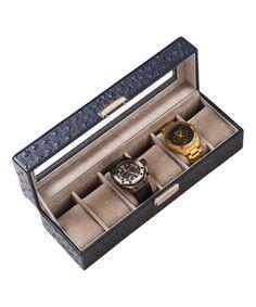 Brouk & Co. Dark Blue Ostrich Vegan Leather Watch It Storage Box | zulily