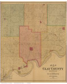 Clay County Missouri 1887 - Wall Map with Landowner & Homeowner Names - Reprint. This Missouri county wall map shows all the old roads, landowner and place names. Some homeowner names are indicated by a black square next to the name. Great for genealogists and history lovers. The reprint is made from the original on file at the Library of Congress. We have edited the original image to improve the appearance. Great for genealogists and history lovers! We offer this map reprint in different...