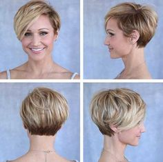 30 Cute Pixie Cuts: Short Hairstyles for Oval Faces Layered Pixie Haircut – Blonde and Brown Short Hair Styles For Round Faces, Hairstyles For Round Faces, Hairstyles Haircuts, Short Hair Cuts, Medium Hairstyles, Bob Haircuts, African Hairstyles, Wedding Hairstyles, Short Styles
