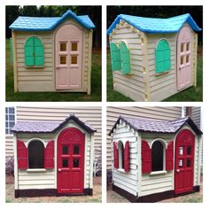 Before and after of the classic Little Tikes playhouse we found! Spray paint made it look like new!
