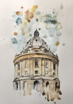 Excited to share the latest addition to my shop: Original pen & watercolour illustration. The Radcliff Camera, oxford. Pen And Watercolor, Watercolor Landscape, Watercolor Illustration, Watercolor Paintings, Camera Illustration, Building Painting, Building Art, Building Drawing, Watercolor Architecture