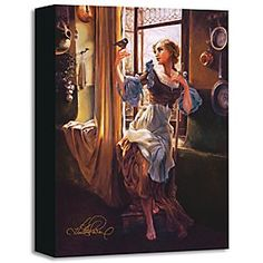 ''Cinderella's New Day'' Giclée on Canvas by Heather Theurer | Disney Store A feathered friend alights on Cinderella's hand as she's busies about her chores in this enchanting work.  Created by Heather Theurer, the limited edition ''Cinderella's New Day'' is gallery wrapped on canvas.