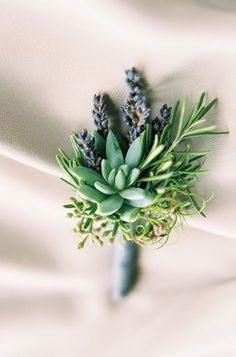succulent, lavender and rosemary boutonniere Succulent Corsage, Succulent Boutonniere, Groom Boutonniere, Boutonnieres, Winter Boutonniere, Lavender Boutonniere, Prom Corsage And Boutonniere, Diy Bouquet, Bride Bouquets