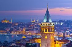 The Galata Tower and across the Bosphorus Topkapi Palace Blue Mosque and Aghia Sophia. More sights to see in Istanbul Turkey - one of the most exciting beautiful and intriguing cities in the world.