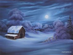 Bob Ross evenings - nice winter scene for something like the ''night before Christmas'' as only Bob could do - web - MReno