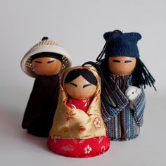 Asian Nativity Set/Ornaments - I have the Mary/Baby Jesus, Joseph, and the shepherd, and they are beautiful! A new one comes out each year.