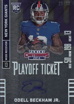 2014 Panini Contenders ODELL BECKHAM JR PLAYOFF TICKET AUTO RC 28 99 b02d23130