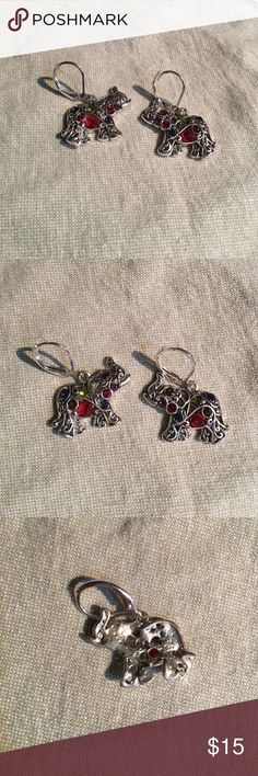 Beautiful elephant earrings!! Beautiful elephant earrings with different colored stones. Great condition! Jewelry Earrings