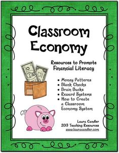 Free Classroom Economy Pack from Laura Candler - Includes money patterns, blank checks, Brain Bucks, and a blank checkbook register. Great for teaching financial literacy!