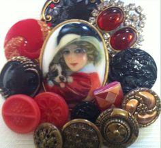 Antique Vintage Porcelain Rhinestone Czech Glass Metal Buttons