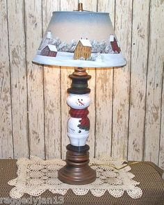 Snowman Lamp.  Raggedy Jan Folk Art Original