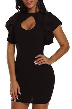 Black Keyhole Front Ruffle Short Bodycon Party Dress 351c85a06