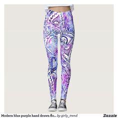 Modern blue purple hand drawn floral mandala leggings