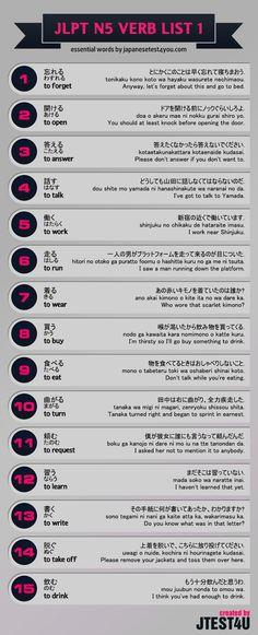 Learn Japanese with infographic: JLPT N5 verb list part 1. http://japanesetest4you.com/infographic-jlpt-n5-verb-list-part-1/