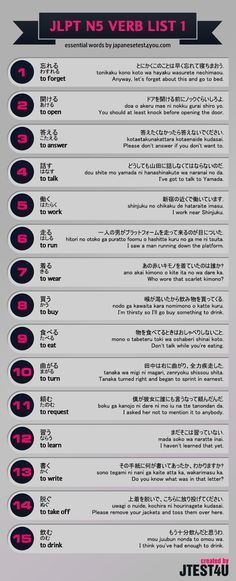 Infographic: JLPT N5 verb list part 1. http://japanesetest4you.com/infographic-jlpt-n5-verb-list-part-1/