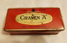 Vintage Carreras Ltd Black Cat Cork Tipped Craven A 100 Cigarette Empty Tin Vintage Artwork, Tins, Metals, Cork, Empty, Silver Plate, Smoking, The 100, Black