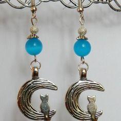 Boucles d'oreilles chats lunes et perles oeils de chat