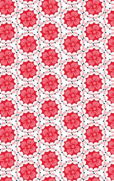 ☯☮ॐ American Hippie Psychedelic Art Pattern Design Wallpaper ~ red flowers
