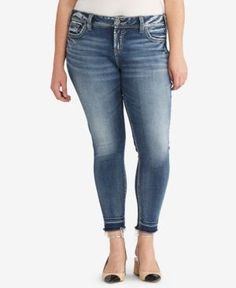 Silver Jeans Co. Trendy Plus Size Elyse Cropped Jeans - Blue 14x27