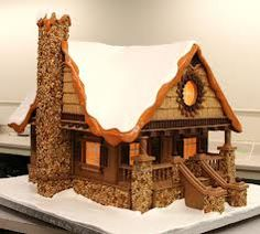 Cool Gingerbread cabin details: stone work, front porch stairs, gable, roof line Gingerbread House Designs, Gingerbread House Parties, Gingerbread Village, Christmas Gingerbread House, Christmas Treats, Christmas Baking, Gingerbread Cookies, Christmas Cookies, Italian Christmas