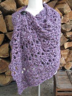 Crocheted Amethyst Wrap Shawl Purple Lavender by WalnutFarmDesigns $44