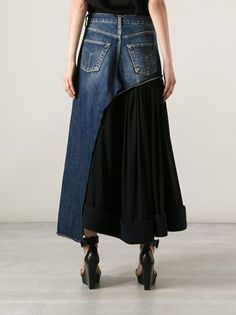 Yohji Yamamoto Vintage Джинсовая Юбка-брюки - - Farfetch.com