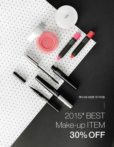 I like the different lines created in this ad created by the placement of the makeup tools. It's very dynamic and leads you right to the text.