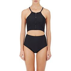 Chromat Women's Lumina One-Piece Swimsuit ($285) ❤ liked on Polyvore featuring swimwear, one-piece swimsuits, black, one piece swimsuit, halter bathing suit, zip front swimsuit, halter tops and zipper front bathing suit