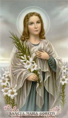How hard is it for you to forgive someone who hurt you? Learn about how Saint Maria Goretti forgave her attacker. St Maria Goretti, Image Jesus, Catholic Pictures, Saints Days, Blessed Mother Mary, Catholic Gifts, Prayer Cards, Sacred Art, Roman Catholic