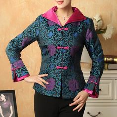 Double Collar V Neck Brocade Chinese Jacket with Strap Buttons – IDREAMMART Source by sirinyaann brokat Batik Fashion, Abaya Fashion, Ethnic Fashion, Fashion Dresses, Womens Fashion, Blouse Batik, Batik Dress, Dress Brokat Muslim, Batik Kebaya