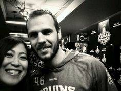 6/12/13 Naoko Funayama & David Krecji at the United Center in Chicago before game 1 of the Stanley Cup Final.