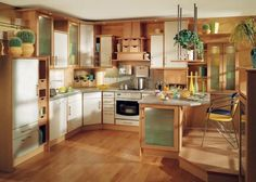 Kitchen: Charming Retro Style Kitchen Design In 1960s Featuring Lacquer Wooden Kitchen Cabinet Plis White Cabinet Door As Well As Gray Granite Countertop And Steel Tool On Laminate Flooring: The Best 1960s Kitchen Design with Retro Style Kitchen Furniture Ideas
