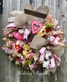 A personal favorite from my Etsy shop https://www.etsy.com/listing/567772404/valentines-wreath-vintage-heart-wreath
