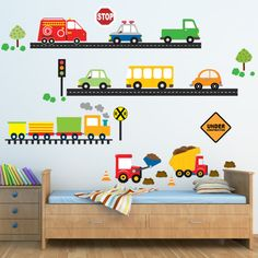 Cars Trucks Decal, Boys Decal, Reusable Decal Non-toxic Fabric Wall Decals for Kids, Car Themed Bedrooms, Bedroom Themes, Boys Car Bedroom, Boy Toddler Bedroom, Nursery Decals, Kids Wall Decals, Kids Room Design, Baby Boy Rooms, Baby Decor