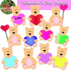 Love love with this Valentine's Day Bear Clip Art! These 13 images include bears, and bears holding colorful hearts and balloons! Clip art is the perfect addition to any classroom, lesson plan, presentation, and worksheet! ! All of my clip art is saved at an extremely clear 600 dpi in jpg and png.