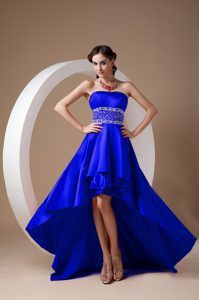 High-low A-line Royal Blue Theme Costumes Dresses Decorated Beading