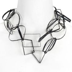 """Biba Schutz at Patina Gallery. Necklace, """"Linkage,"""" Oxidized Silver, Geometric Links Clustering Four Rows in Center"""