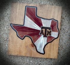 Texas A String Art by theofficalcraftaddix on Etsy Texas Crafts, Crafts To Make, Fun Crafts, Arts And Crafts, Summer Crafts, Texas String Art, Nail String Art, Texas A&m, Texas Tech