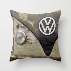 "VW Indestructable Throw Pillow by Alice Gosling - $20.00 Available in 3 sizes, with or without the insert and 16"" with cover for outside use #pillow #cushion #home #unique #VW #Campervan #Volkswagen #Retro #Rust"