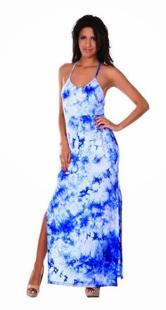 blue maxi dress: blue tie dye maxi dress