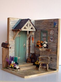 """♡ ♡ """"Un porche otoñal""""   por Pequeneces Sus dimensiones son 26 x 29 x21,5 cm"""