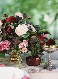 vintage blush and burgundy wedding centerpiece